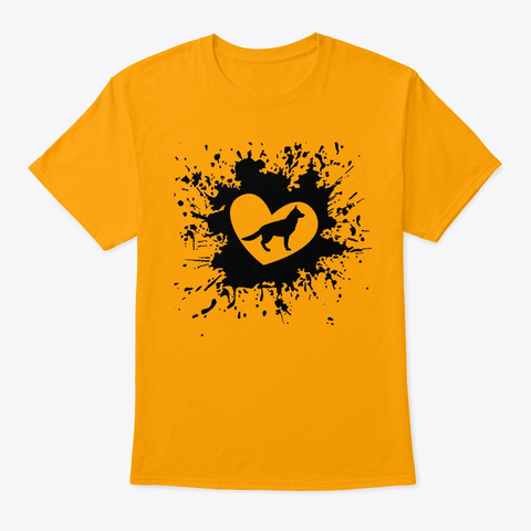 I Love German Shepard Dog T Shirt Gold T-Shirt Front