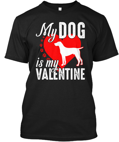 German Shorthaired Pointer Valentine's T Black T-Shirt Front