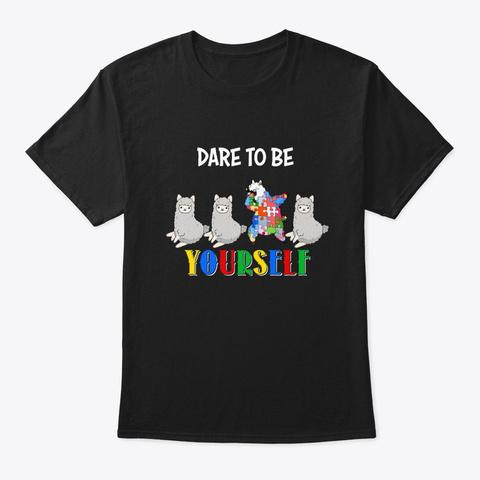 Autism Awareness Llama Gift Black T-Shirt Front