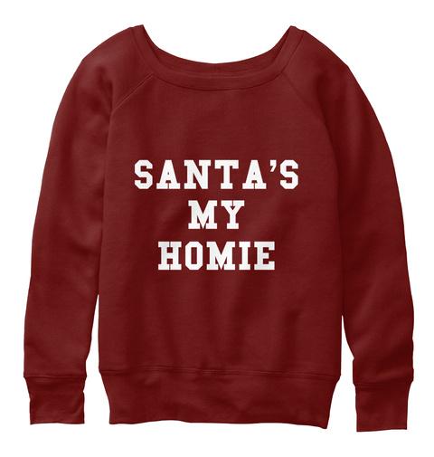 Santa's My Homie Dark Red Triblend T-Shirt Front