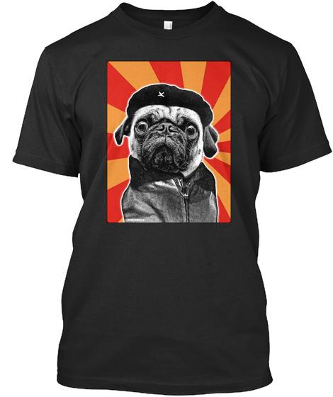Che Pug Black T-Shirt Front