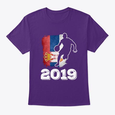 Serbia Flag Basketball 2019 Tee Purple T-Shirt Front