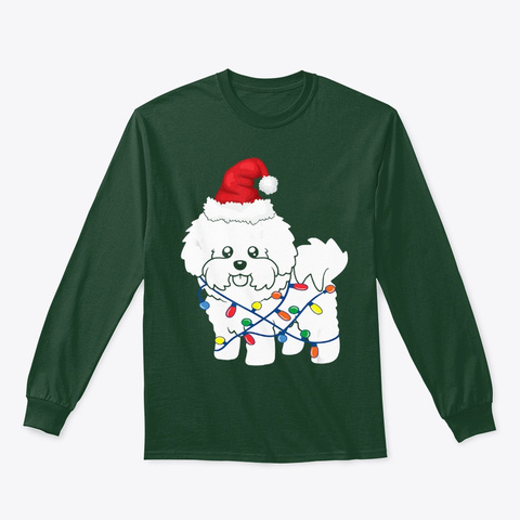 Bichon Frise Christmas Light Funny Dog Forest Green T-Shirt Front