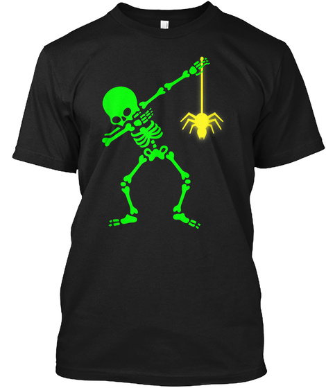 Dabbing Skeleton With Radioactive Spider Black T-Shirt Front