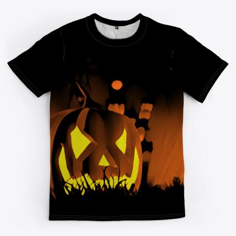 Halloween  Jack O Lantern | Graveyard Black T-Shirt Front