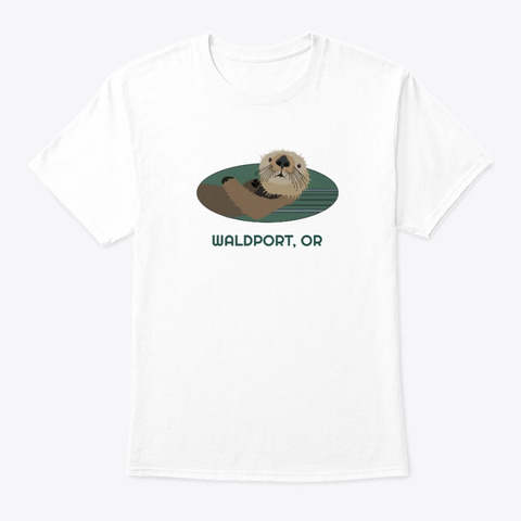 Waldport Or Otter Pnw Tribal White T-Shirt Front