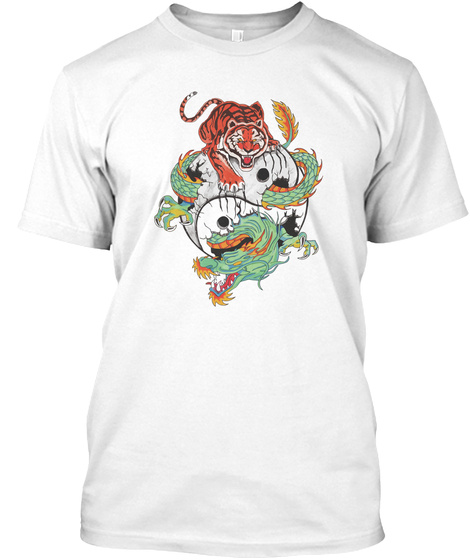 Tiger Dragon Yin Yang White T-Shirt Front
