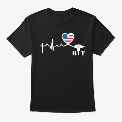 Radiologic Technologists Heartbeat Black T-Shirt Front