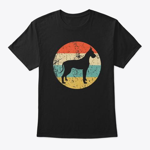 Funny Vintage Great Dane Dog Lover  Black T-Shirt Front