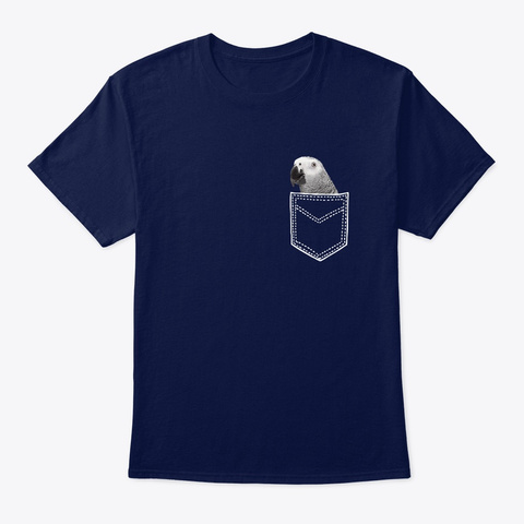 African Grey In Pocket Navy T-Shirt Front