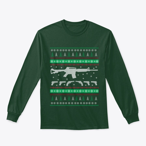 Christmas Firepower Pajamas Long Sleeve Forest Green T-Shirt Front