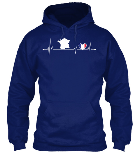France Hearbeat Oxford Navy T-Shirt Front