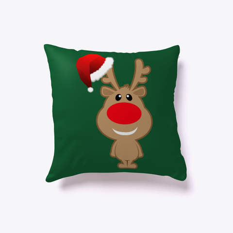 Christmas Funny Reindeer Santa Dark Green T-Shirt Back