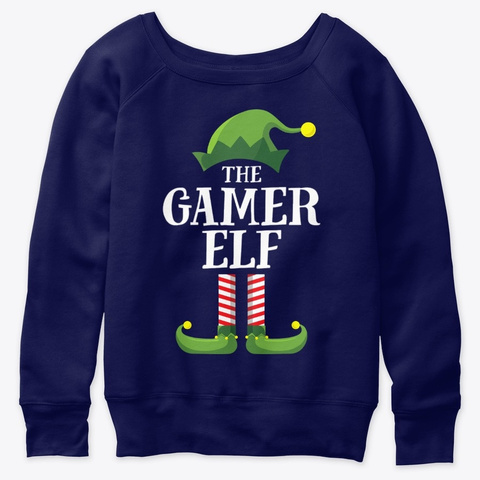 Gamer Elf Matching Family Navy  T-Shirt Front