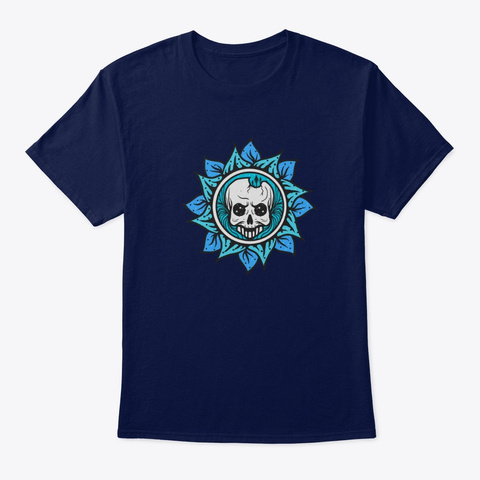 Flower Skull Navy T-Shirt Front