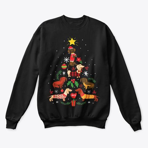 Funny Dachshund Christmas Tree Shirt Black T-Shirt Front