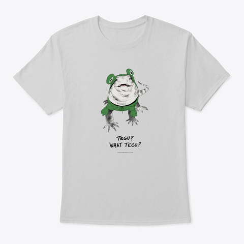 Tegu? What Tegu? | Black And White Tegu Light Steel T-Shirt Front