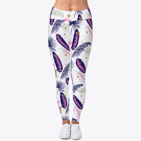 Pink Palm Pattern Leggings Light Yellow T-Shirt Front