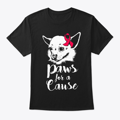 Paws For A Cause Heart Disease Awareness Black T-Shirt Front