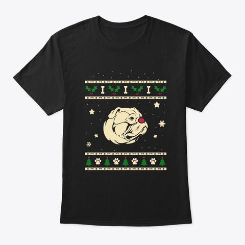 Christmas American Bulldog Gift Black T-Shirt Front