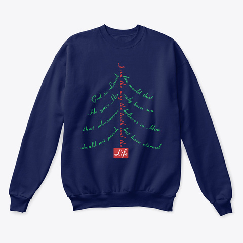 Holiday Tree God So Loved Navy  T-Shirt Front