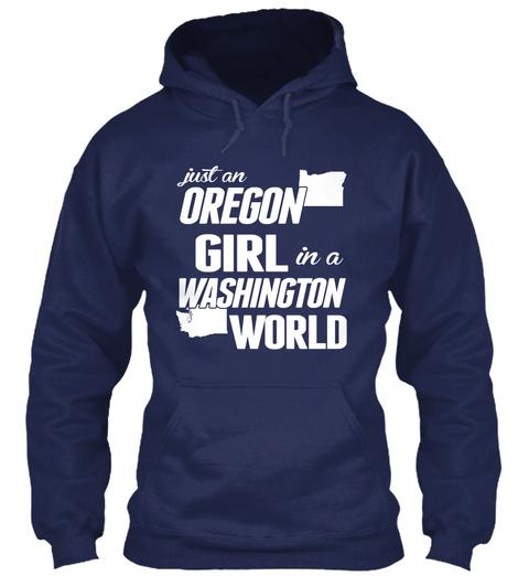 Just An Oregon Girl In A Washington World Navy áo T-Shirt Front