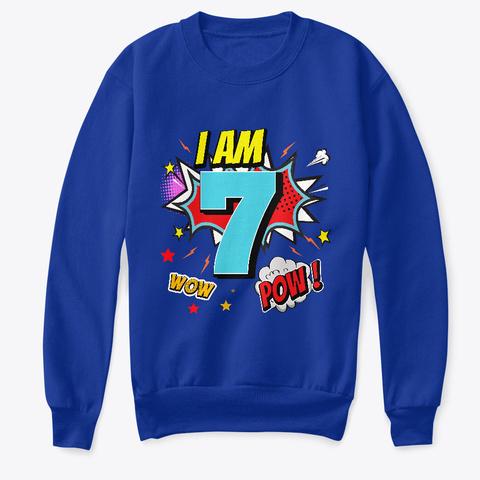7 Years Old 7th Birthday Boy Comic Kid  Deep Royal  T-Shirt Front