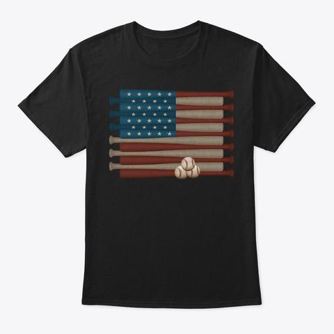 Vintage Us Flag Baseball Lover Black T-Shirt Front