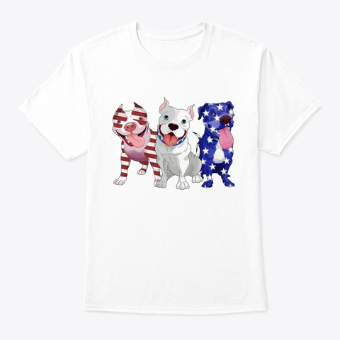 Pit Bull Ame Flag White T-Shirt Front