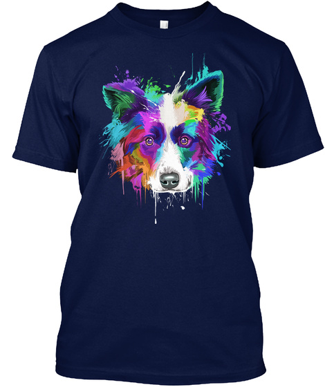 Border Collie Art Navy T-Shirt Front
