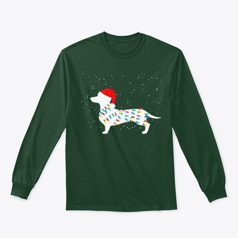 Santa Dachshund Christmas Lights Shirts Forest Green T-Shirt Front