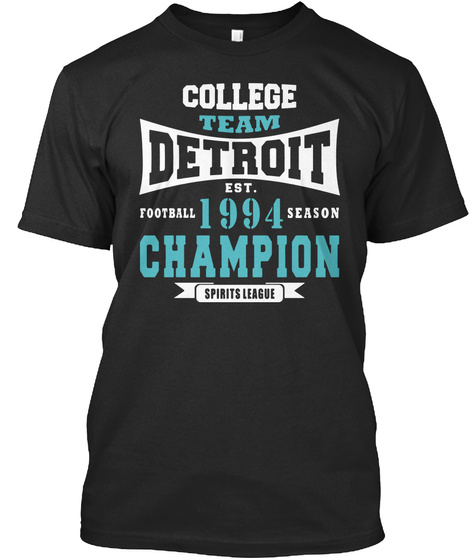 Team Detroit Football 1994 Season Champi Black T-Shirt Front