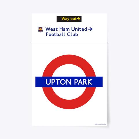 Upton Park Station West Ham Sign White T-Shirt Front