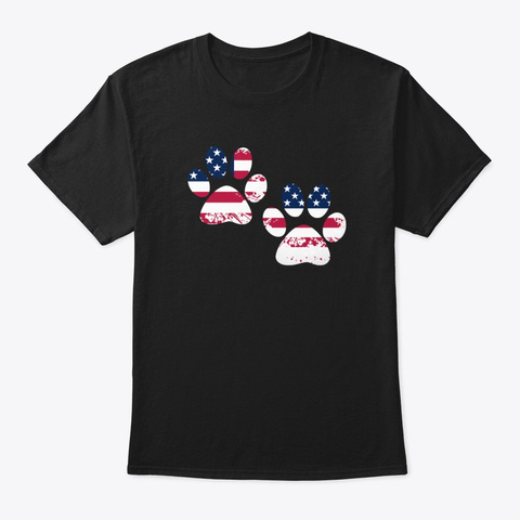 Flag Paws Usa T Shirt Black T-Shirt Front