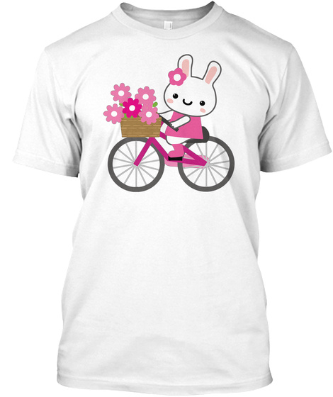 Rabbit Riding Bike Funny Pink Flower Bunny Art T Shirt White T-Shirt Front