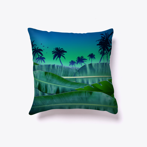 Palm Banana Beach  Throw Pillow Decor Black T-Shirt Front
