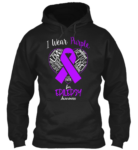 I Wear Purple For Epilepsy Awareness Black T-Shirt Front