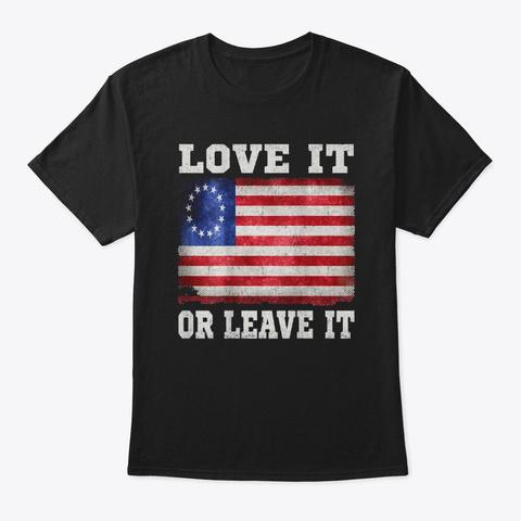 Betsy Ross Distressed Vintage 1776 Flag  Black T-Shirt Front