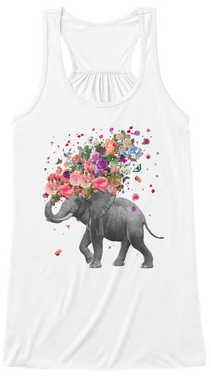 Elephant Splash (Tank Top) White Camiseta Front