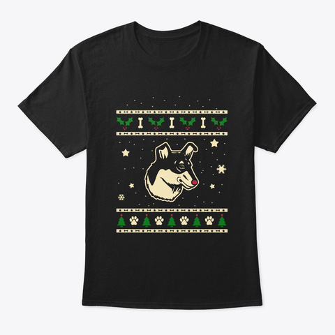 Christmas Smooth Collie Gift Black T-Shirt Front