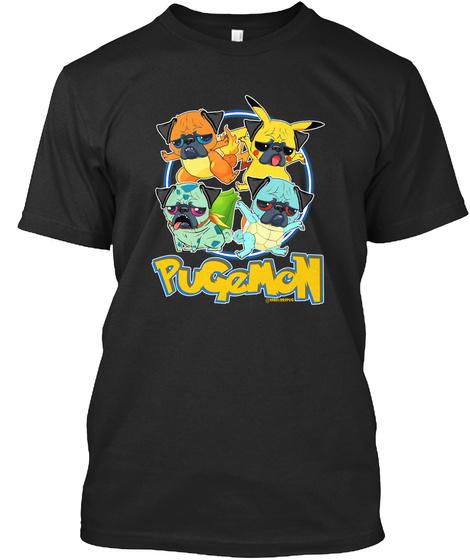 Pugemon Black T-Shirt Front