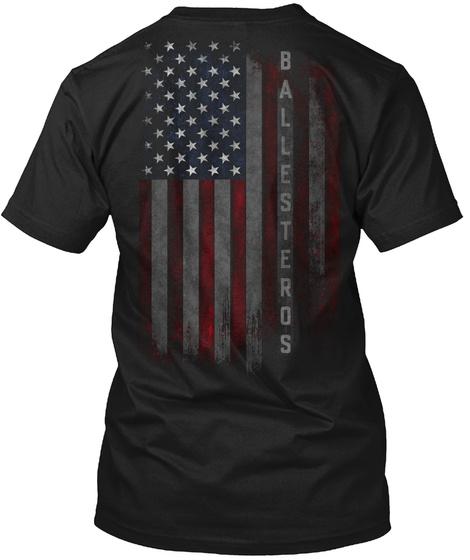 Ballesteros Family American Flag Black T-Shirt Back