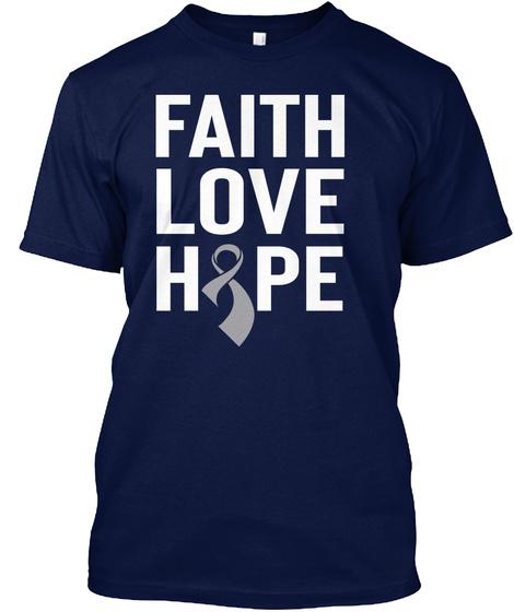 Brain Cancer Awareness Shirt Navy T-Shirt Front