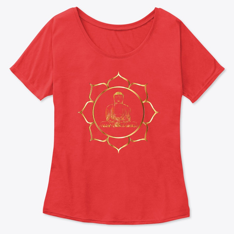 Buddha   Flower Line Art  Red T-Shirt Front