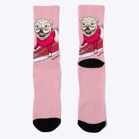 Surf Pug Socks Pink Camiseta Front