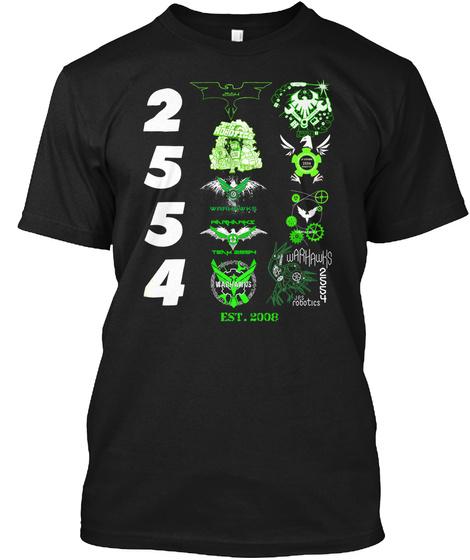 2554 Waahawks Est. 2008 Black T-Shirt Front