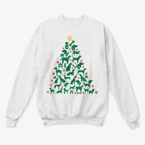 Dog Christmas Tree Sweater White  T-Shirt Front