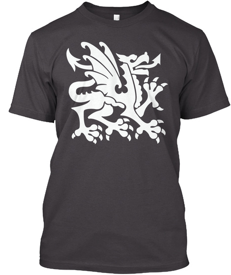T Shirt White Heraldry Dragon Heathered Charcoal  T-Shirt Front
