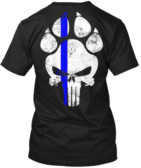 K9 Police Law Enforcement Blue Line Black T-Shirt Back