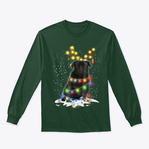 Black Pug Blinker   Nice Dog Christmas Forest Green T-Shirt Front
